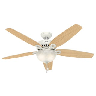 Hunter Builder Snow White 56-inch Great-room 5 Snow White/Light Oak Reversible Blades Ceiling Fan