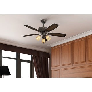 Hunter Fan Ambrose Collection Bengal Onyx Aged Maple Reversible Blade Ceiling Fan