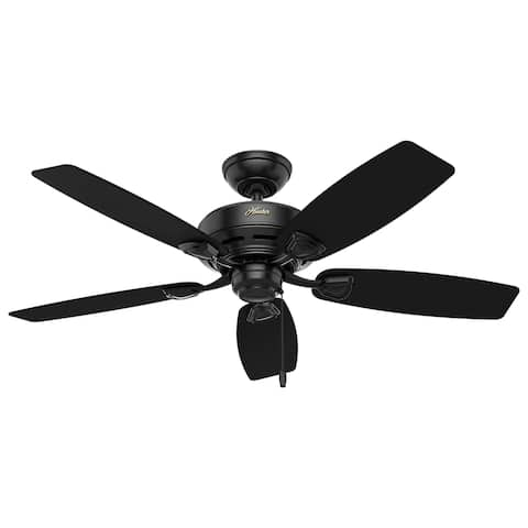 "Hunter 48"" Sea Wind Outdoor Ceiling Fan with Pull Chain, Damp Rated - Matte Black"
