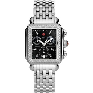 Michele Signature Stainless Steel Women's Diamond Black Dial Deco Watch