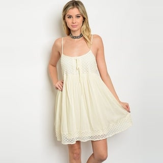 Shop The Trends Women's Spaghetti Strap Babydoll Tunic Dress With Allover Lace Details And Scoop Neckline