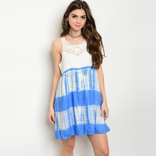 Shop The Trends Women's Sleeveless Babydoll Dress With Crochet Lace Top And Tie Dye Printed Bottom