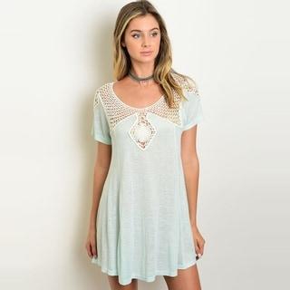 Shop The Trends Women's Short Sleeve Jersey Knit Dress With Crochet Lace Scoop Neckline