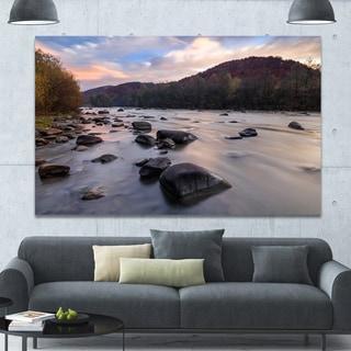 Designart 'Rocky Mountain River in Autumn' Seashore Wall Art on Canvas - Blue