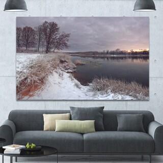 Designart 'Winter River in Dark Morning' Seashore Wall Art on Canvas - White
