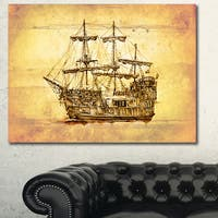 Designart 'Brown Ancient Moving Boat' Seashore Wall Art on Canvas
