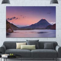Designart 'Sunset at Mount Fuji and Lake Motosu' Modern Landscape Canvas Art - Multi-color