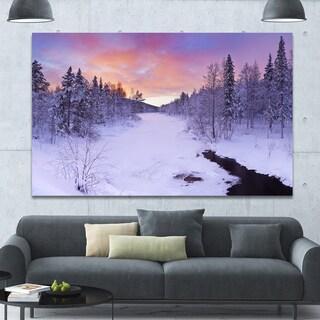 Designart 'Winter River in Finnish Lapland' Modern Landscape Canvas Art - Multi-color