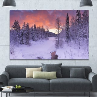 Designart 'Finnish Lapland Trees in Winter' Landscape Wall Art on Canvas