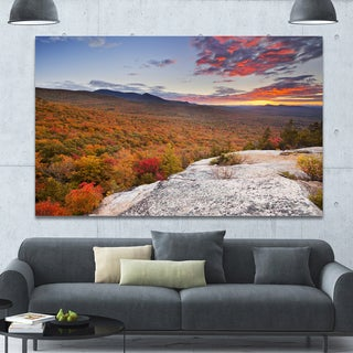 Designart 'Endless Forests in Fall Foliage' Landscape Wall Art on Canvas - Orange