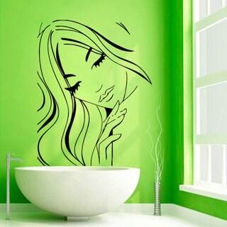 Girl Model Face Hairdressing Beauty Salon Wall Decor Vinyl Art Bathroom Wall Decor Sticker Decal size 33x45 Color Black