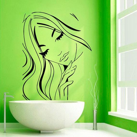 girl model face beauty salon wall decor vinyl art bathroom wall decor sticker decal siz
