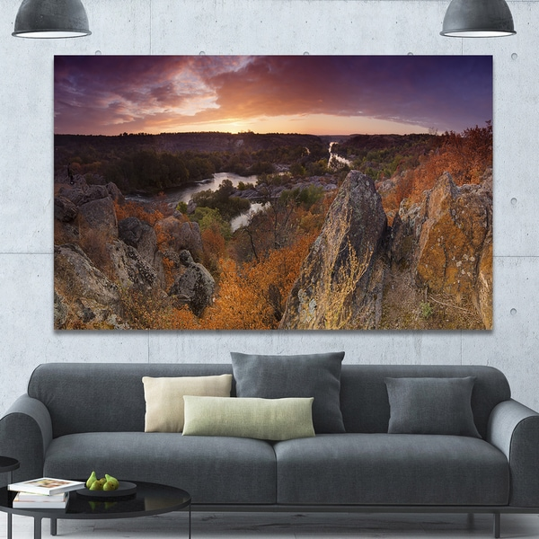 Designart 'Rural Autumn Sunset Panorama' Modern Landscpae Wall Art