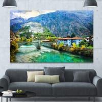 Designart 'Valle d'Aosta Castles Italy' Modern Landscpae Wall Art - Multi-color
