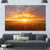 Designart 'Poppy Field under Bright Sunset' Modern Landscpae Wall Art - Multi-color