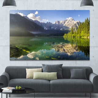 Designart 'Green Mountain Lake in the Alps' Modern Landscpae Wall Art