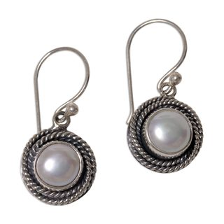 Handmade Cultured Pearl Dangle Earrings, 'Nest of Chains in White' (Indonesia)