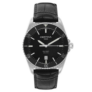 Certina Men's DS First C014-410-16-051-00 Black Strap with Black Dial Leather Watch