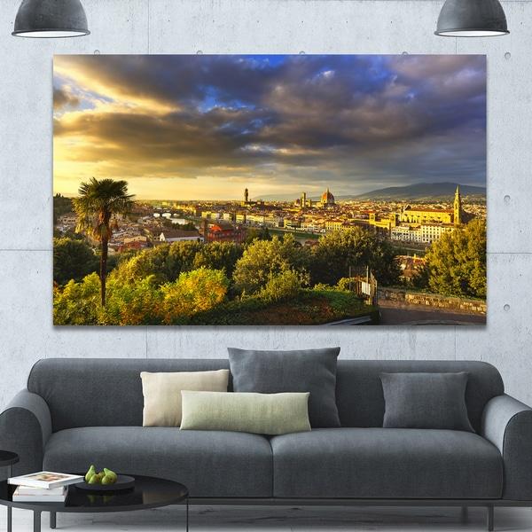 Designart 'Florence Sunset Aerial View' Modern Landscpae Wall Art - Multi-color