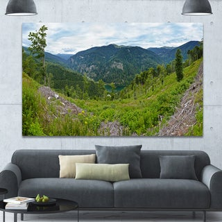 Designart 'Green Mountains Panorama' Modern Landscpae Wall Art - Green