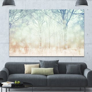 Designart 'Winter with Foggy Forest' Landscape Canvas Wall Artwork - Multi-color