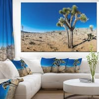 Designart 'Joshua Tree in Open Desert' Landscape Canvas Wall Artwork - Multi-color