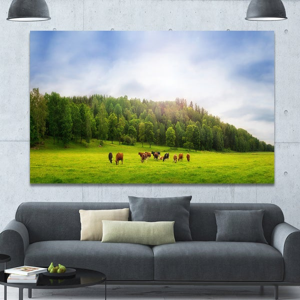 Designart \'Cows on Field Panorama\' Landscape Canvas Wall Artwork ...