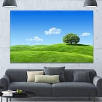 Designart 'Calm Meadow with Single Tree' Landscape Canvas Wall Artwork - Multi-color
