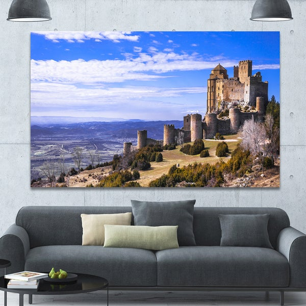 Designart 'Medieval Loarre Castle Panorama' Landscape Canvas Wall Artwork