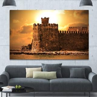 Designart 'Old Castle at Sunset' Landscape Canvas Wall Artwork - Brown