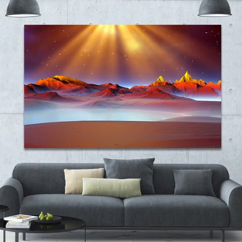 Designart 'Alien Landscape at Sunset' Landscape Canvas Wall Artwork Print - Multi-color