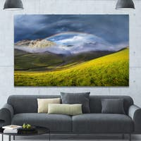 Designart 'Rainbow in Mountain Valley' Landscape Canvas Wall Artwork - Multi-color
