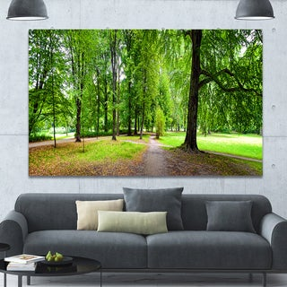 Designart 'Park in Autumn Panorama' Landscape Canvas Wall Artwork - Green