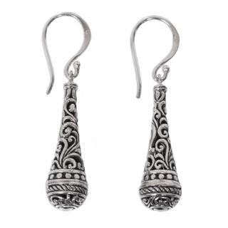 Sterling Silver Dangle Earrings, 'Silent Scepter' (Indonesia)
