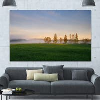 Designart 'Foggy Early Morning Panorama' Landscape Wall Artwork - Multi-color
