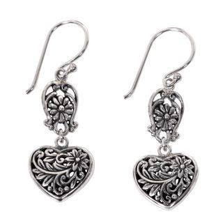 Handmade Sterling Silver Dangle Earrings, 'Blooming Hearts' (Indonesia)