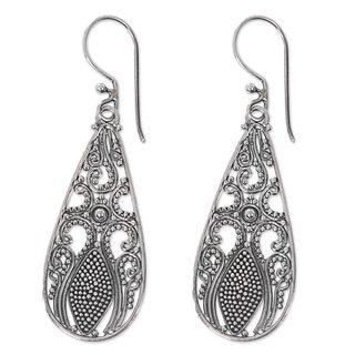 Sterling Silver Dangle Earrings, 'Silver Swing' (Indonesia)