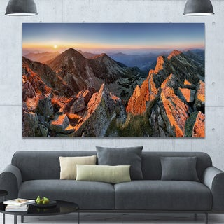 Designart 'Majestic Sunset in Fall Mountains' Landscape Wall Artwork - Brown