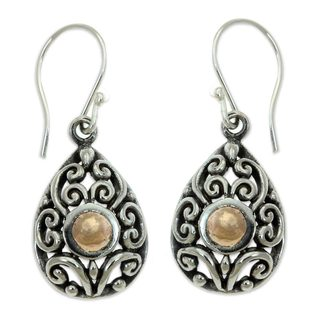 Gold Accent Dangle Earrings, 'Tropical Tear' (Indonesia)