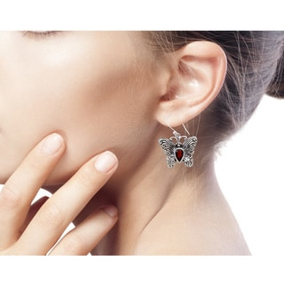 Handmade Garnet Dangle Earrings, 'Enchanted Butterfly' (Indonesia)