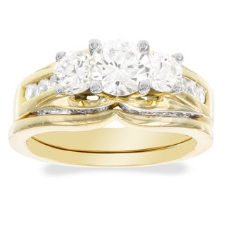 H Star 10k Yellow Gold Cubic Zirconia 3-stone Bridal Set