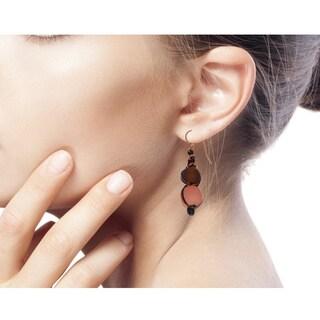 Recycled Bead Dangle Earrings, 'Peach Allure' (Ghana)