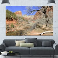 Designart 'Red Rock Mountain in Zion Park' Landscape Wall Artwork - Red