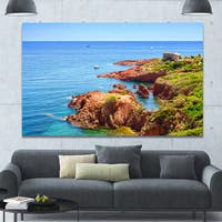Designart 'Esterel Rocks Beach Coast' Landscape Wall Artwork - Multi-color