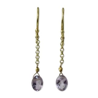 Gold Vermeil Amethyst Dangle Earrings, 'Rising Star' (Thailand)
