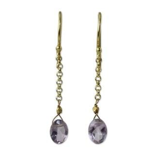 Handmade Gold Vermeil Amethyst Dangle Earrings, 'Rising Star' (Thailand)