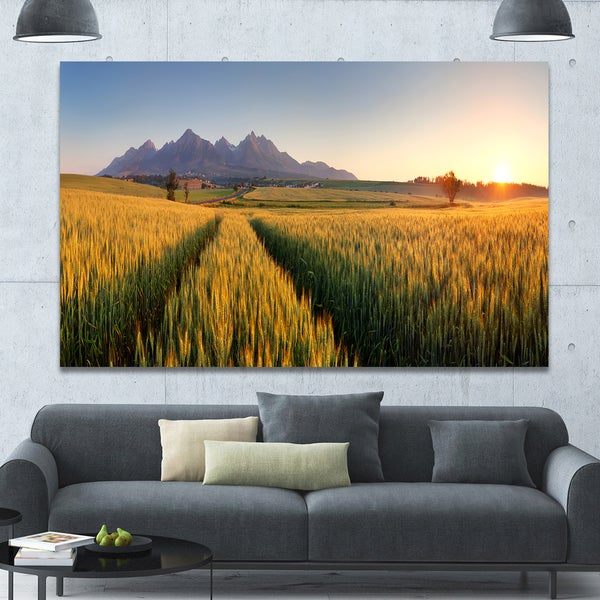 Designart 'Path in the Wheat Field' Landscape Wall Artwork - Multi-color
