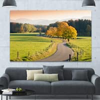 Designart 'Winding Country Road in the Fall' Landscape Wall Artwork - Multi-color