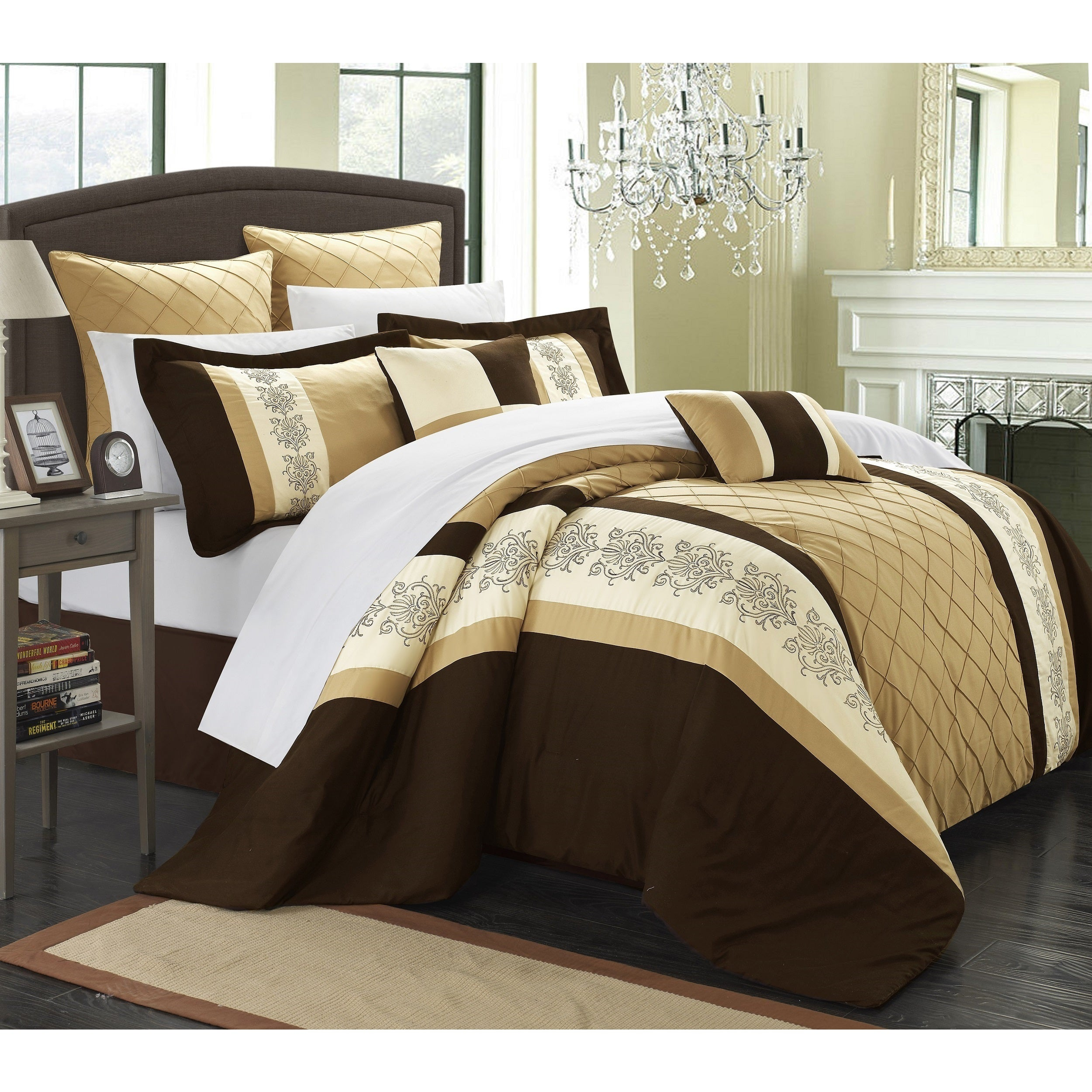 Chic Home 12-Piece Arlington Comforter Set (Queen-Gold), ...