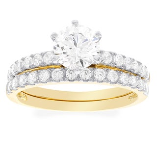 H Star 10k Yellow Gold Cubic Zirconia Bridal Set
